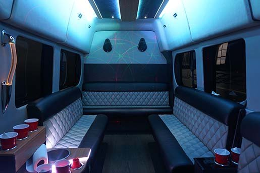 Our Smallest Vehicle Is 10 Passenger Ford Transit Party Van While It May Be Small This Perfect For Partying The Fully Custom Interior Features